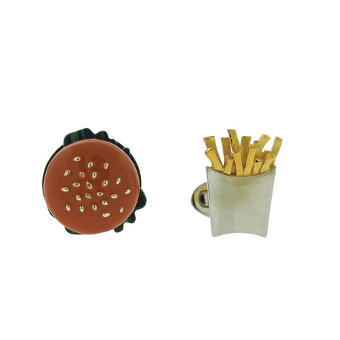image of Jan Leslie Burger and Fries Silver Enamel Cufflinks