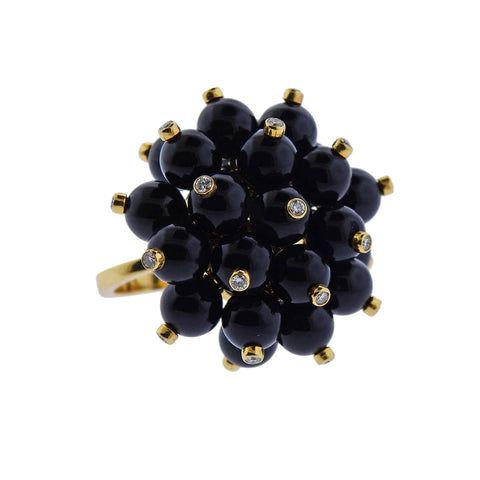 image of Aletto Brothers Diamond Onyx Gold Pom Pom Ring