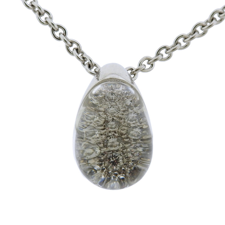 thumbnail image of Cartier 18k Gold Diamond Crystal Ball Pendant Necklace