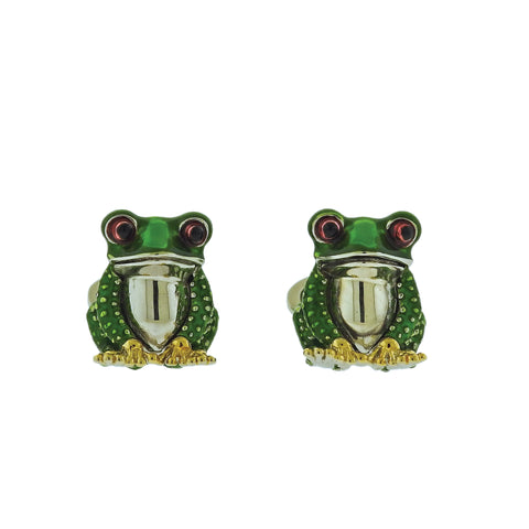 image of Jan Leslie Frog Enamel Silver Cufflinks