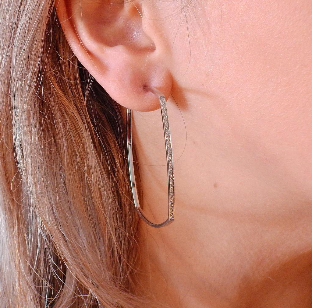 thumbnail image of Tiffany & Co Gehry Torque Diamond Gold Hoop Earrings