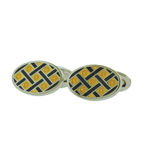 image of Jan Leslie Navy Blue Yellow Criss Cross Oval Silver Cufflinks