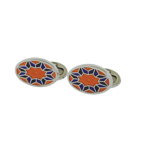image of Jan Leslie Orange Purple Enamel Silver English Flower Pattern Cufflinks