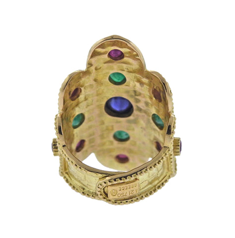 image of Lalaounis Greece Sapphire Ruby Emerald Gold Ring