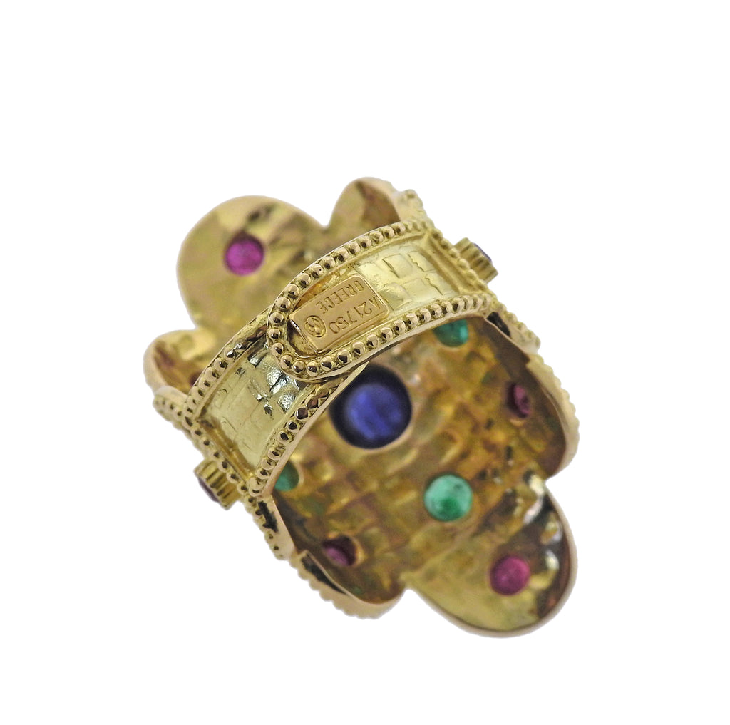 thumbnail image of Lalaounis Greece Sapphire Ruby Emerald Gold Ring