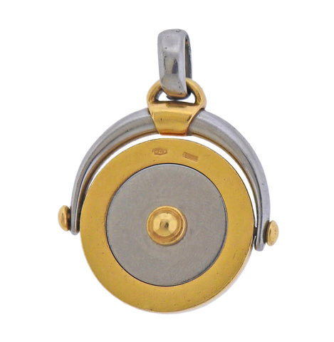 image of Bulgari Aquarius Zodiac Sign Gold Steel Flip Pendant
