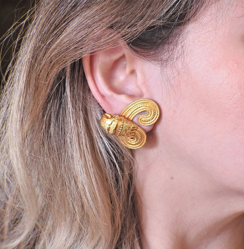 thumbnail image of Lalaounis Greece Chimera Gold Earrings