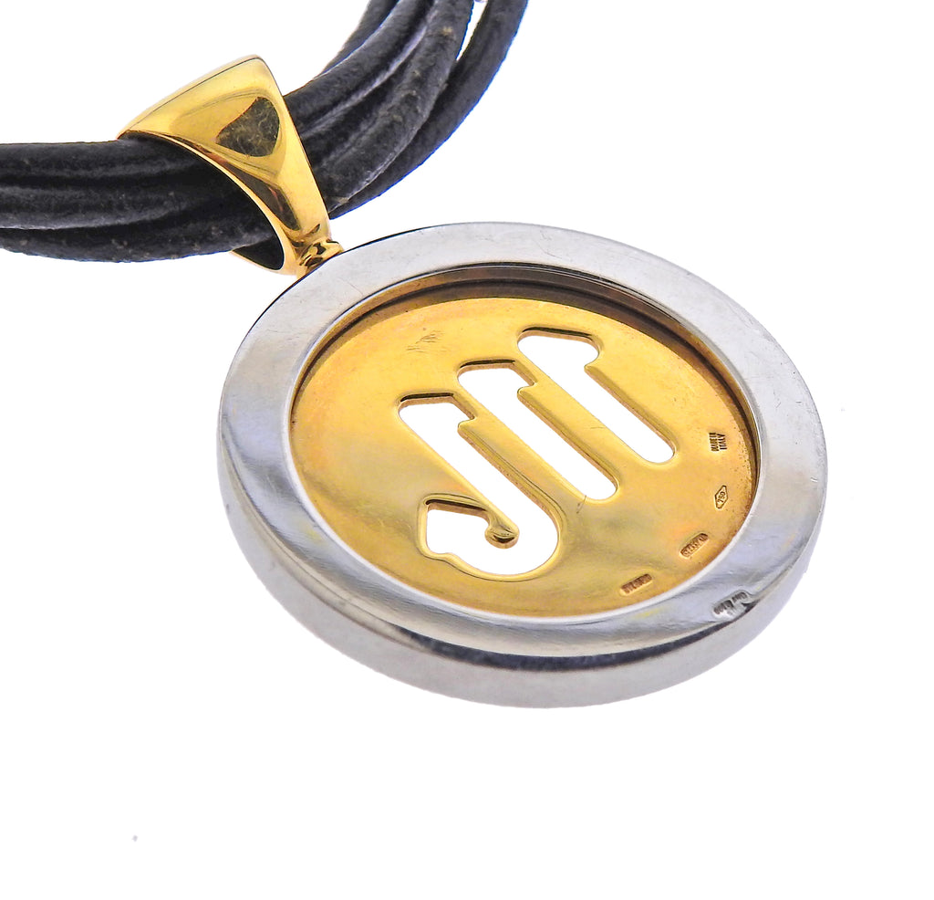 thumbnail image of Bulgari Tondo Gold Steel Scorpio Zodiac Sign Pendant Cord Necklace