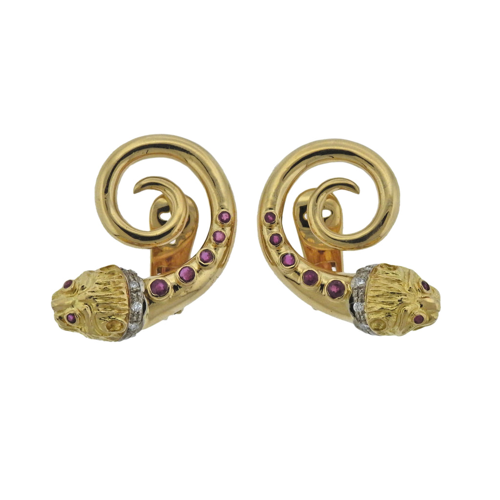 thumbnail image of Lalaounis Greece Ruby Diamond Gold Chimera Earrings