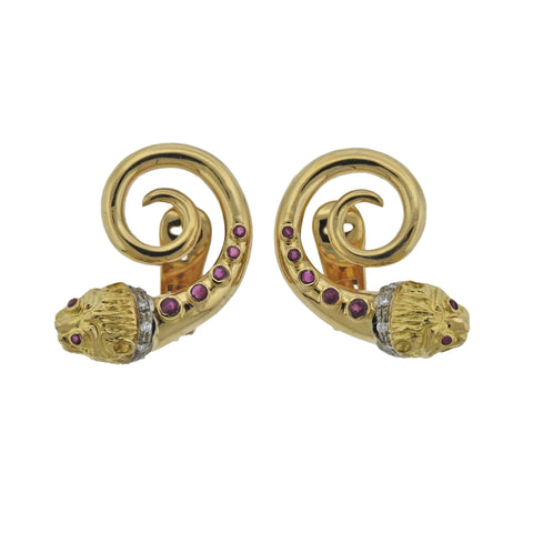 image of Lalaounis Greece Ruby Diamond Gold Chimera Earrings