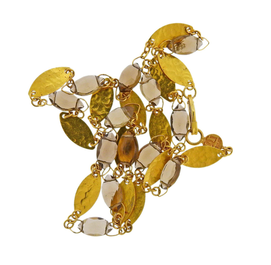 thumbnail image of Gurhan Willow Bloom Leaf Gold Champagne Quartz Necklace