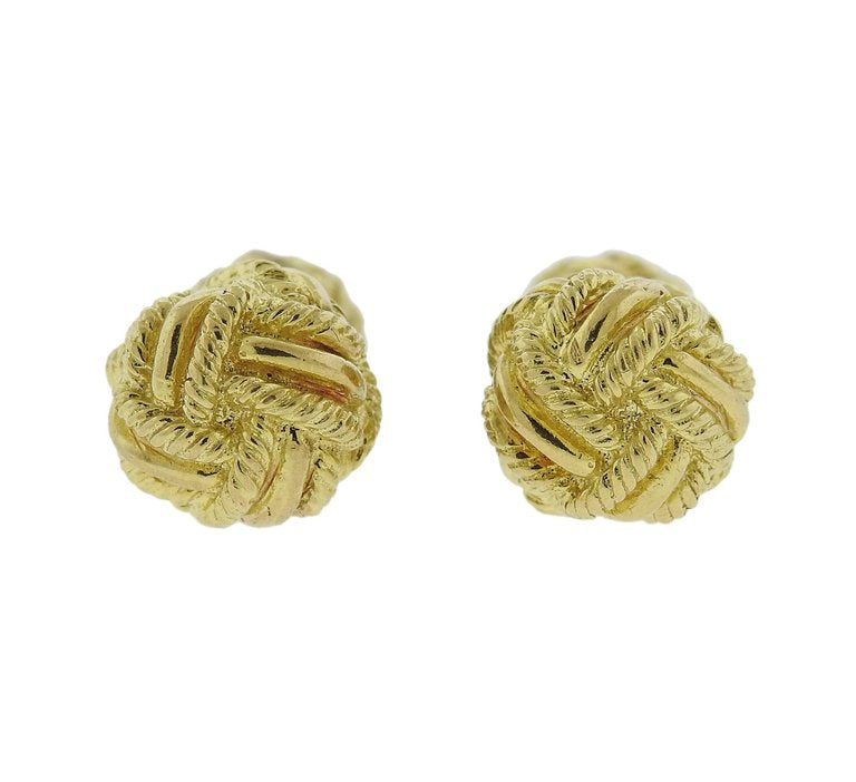 thumbnail image of Tiffany & Co. Woven Knot Gold Cufflinks