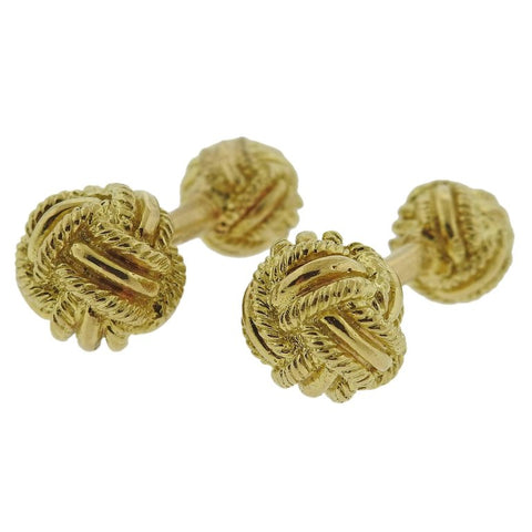 image of Tiffany & Co. Woven Knot Gold Cufflinks