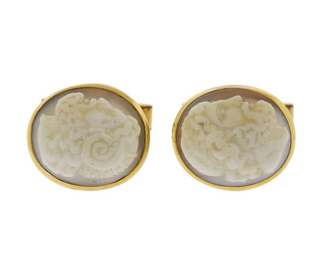 image of Antique Cameo Gold Cufflinks