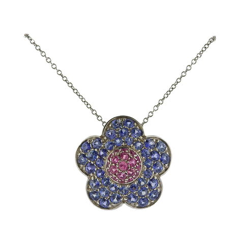 image of Pasquale Bruni Sapphire Flower Pendant Necklace