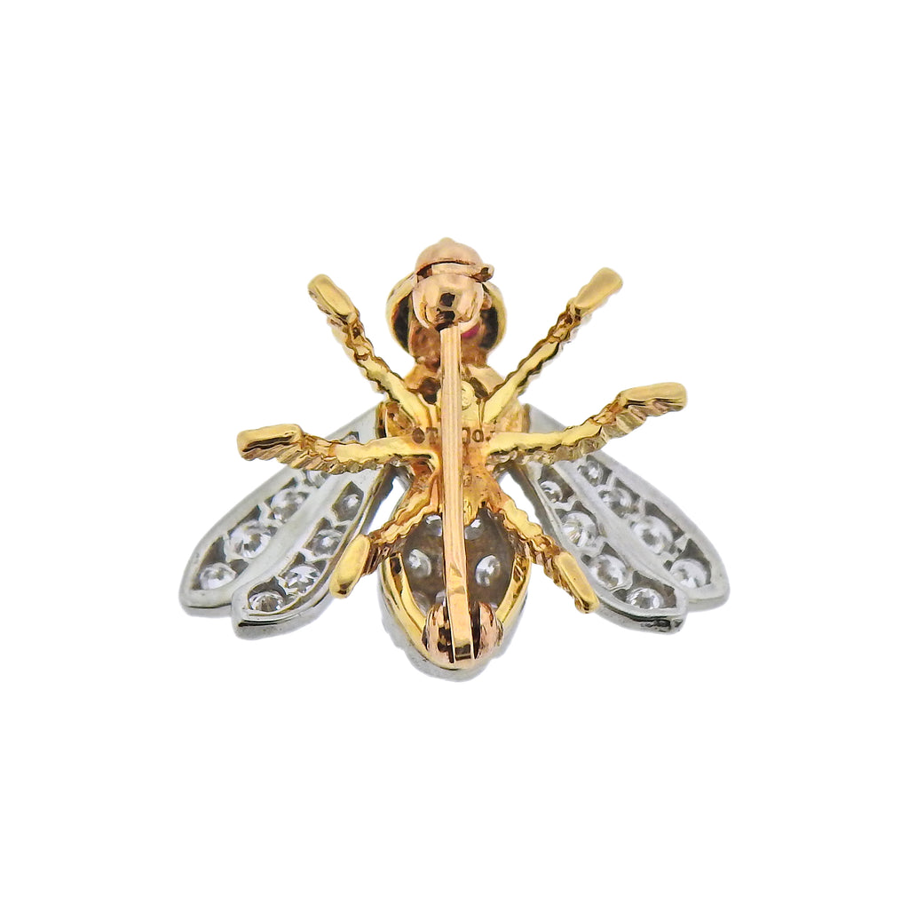 thumbnail image of Tiffany & Co Diamond Gold Ruby Bee Insect Brooch Pin