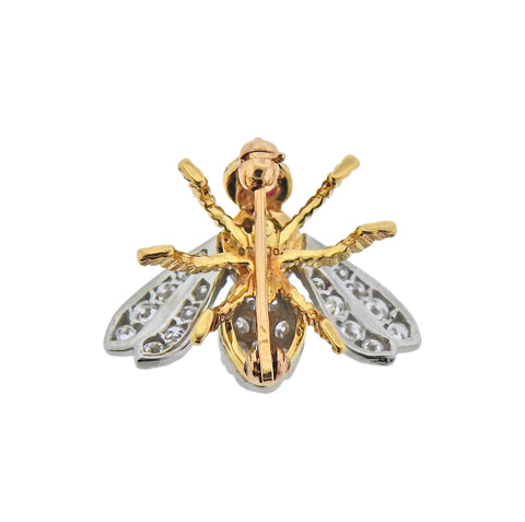 image of Tiffany & Co Diamond Gold Ruby Bee Insect Brooch Pin
