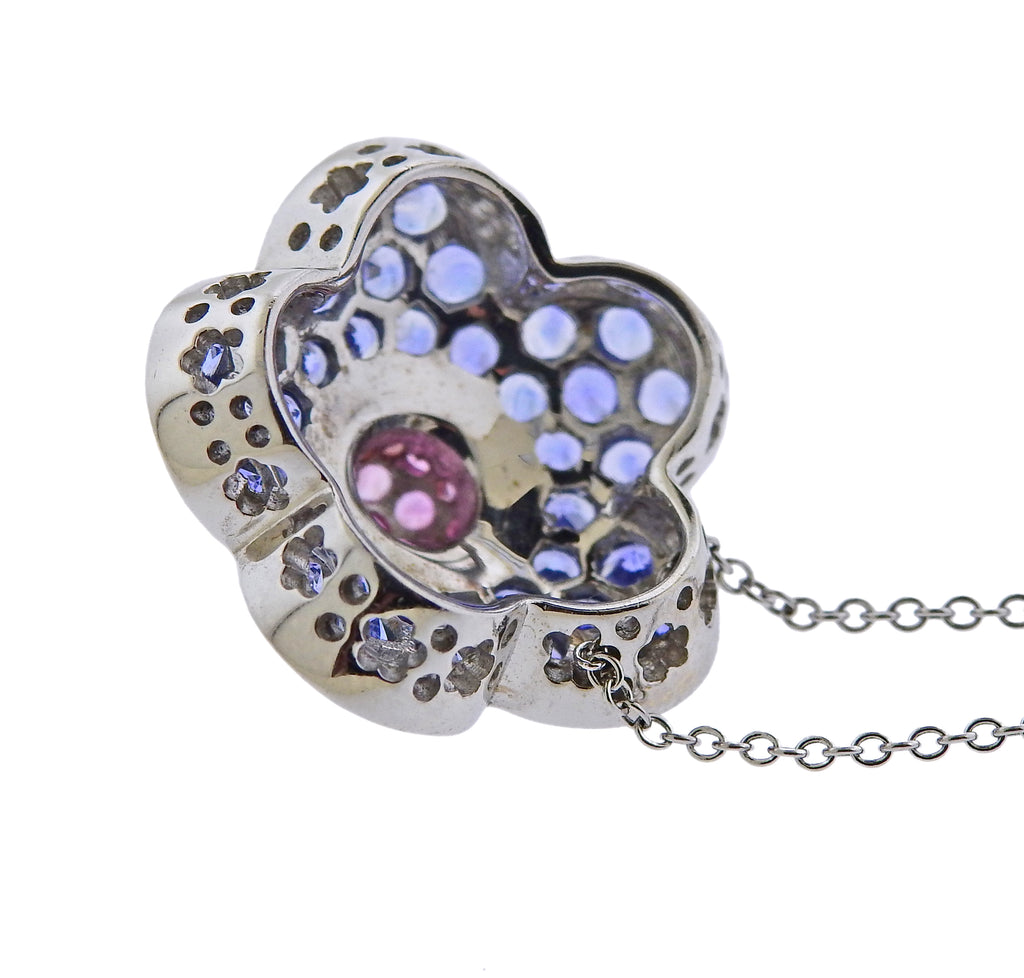 thumbnail image of Pasquale Bruni Sapphire Flower Pendant Necklace