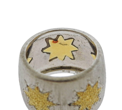 image of Buccellati Geminato Gold Sterling Silver Wide Band Ring
