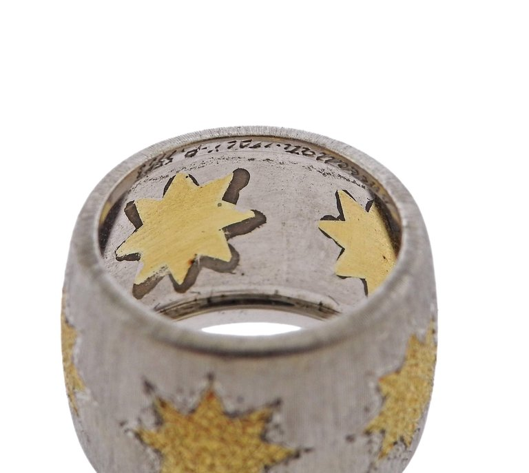 thumbnail image of Buccellati Geminato Gold Sterling Silver Wide Band Ring