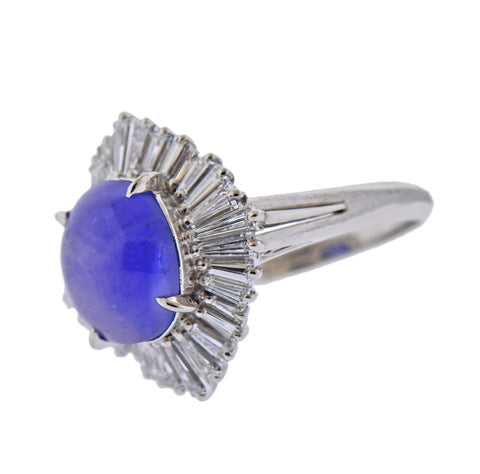 image of Platinum 6.47 Carat Sapphire Diamond Cocktail Ring