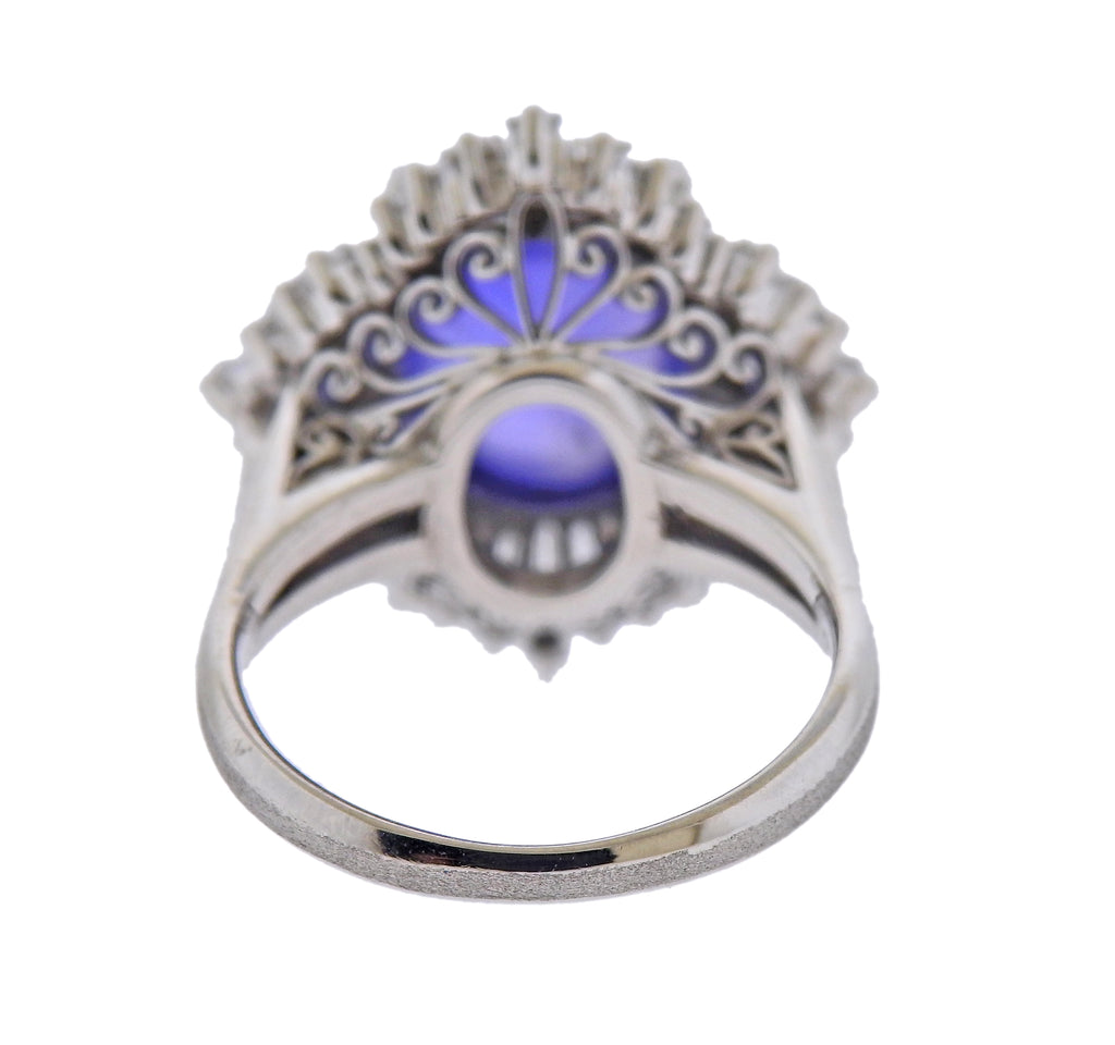thumbnail image of Platinum 6.47 Carat Sapphire Diamond Cocktail Ring