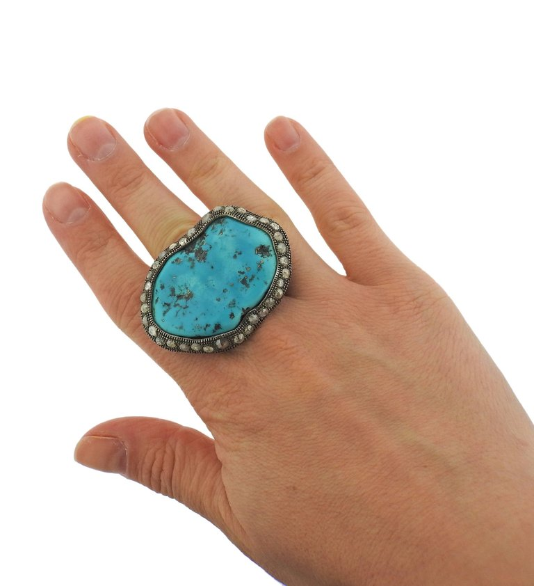 thumbnail image of Large Loree Rodkin Turquoise Rose Cut Diamond Gold Ring