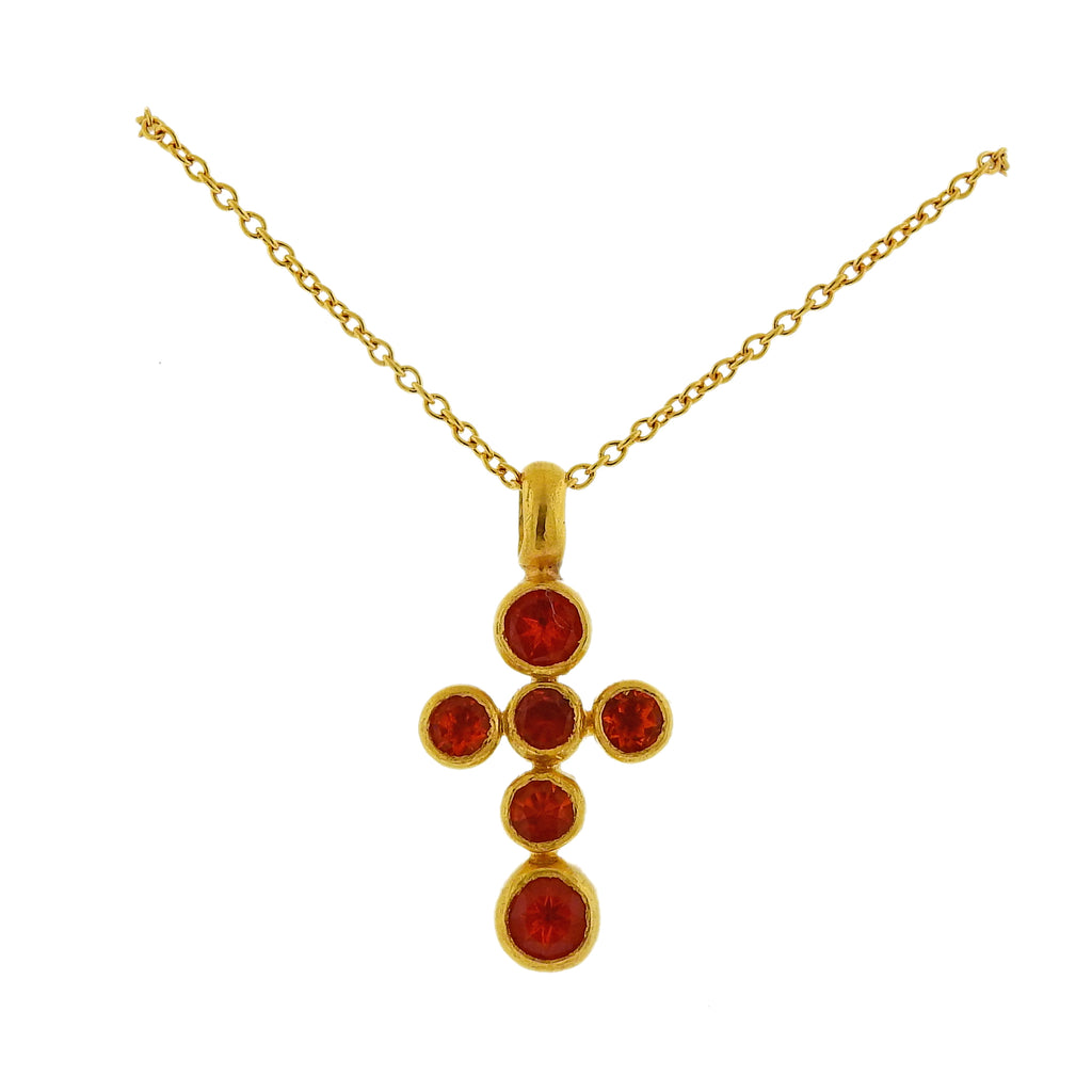thumbnail image of Gurhan Gold Mexican Fire Opal Cross Pendant Necklace