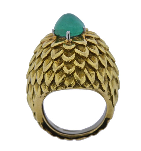 image of David Webb Emerald Gold Cocktail Ring