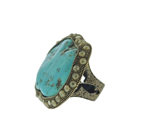 image of Large Loree Rodkin Turquoise Rose Cut Diamond Gold Ring
