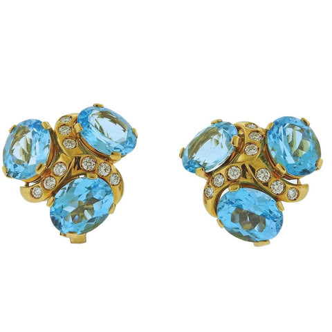 image of Verdura Blue Topaz Diamond Gold Earrings
