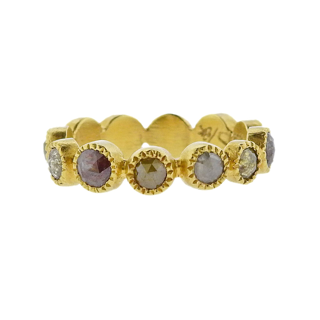 thumbnail image of Todd Reed Gold Rose Cut Rough Diamond Eternity Band Ring