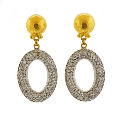 image of Gurhan Galahad Gold Diamond Drop Earrings