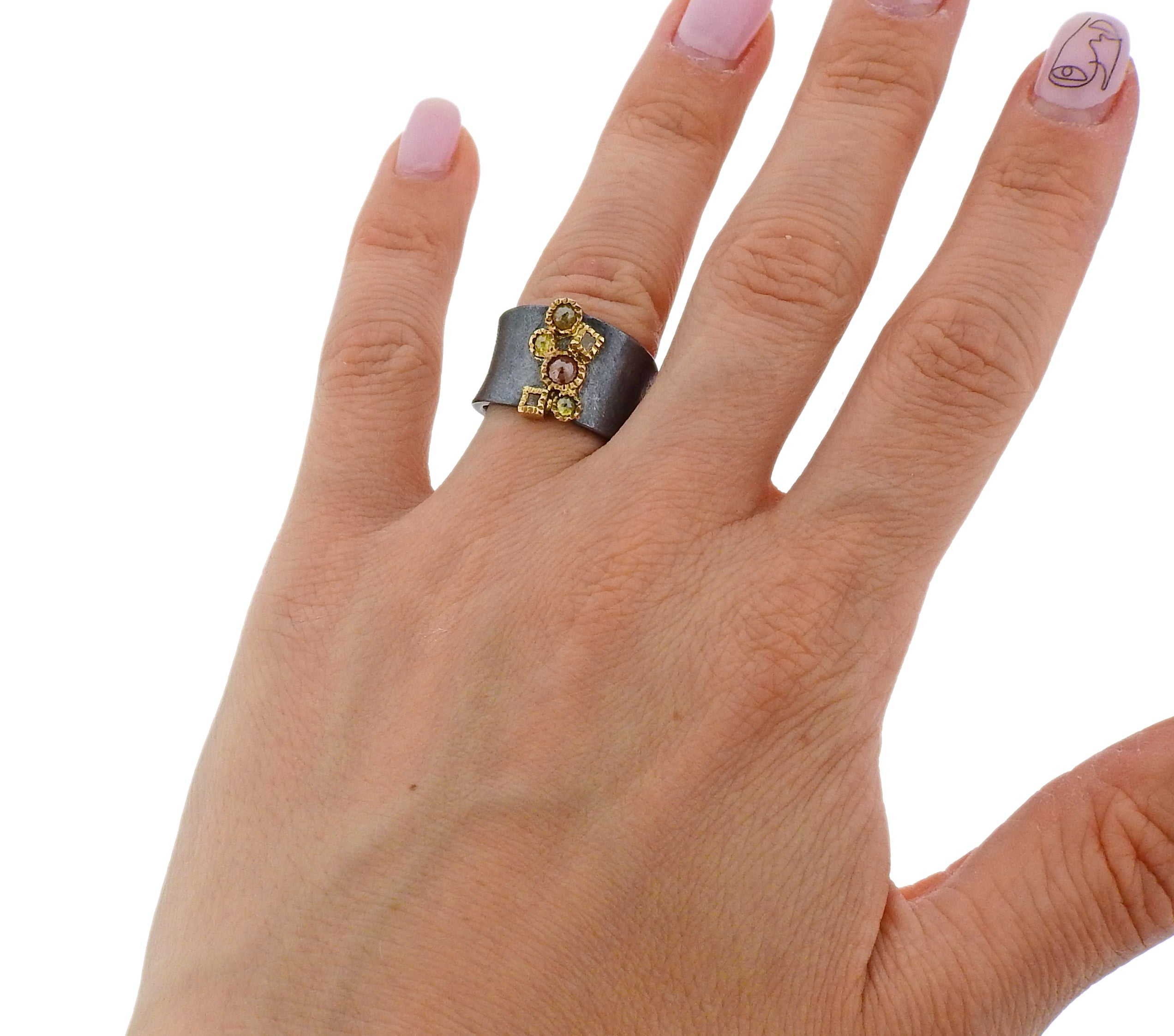 Todd Reed Gold Oxidized Silver Fancy Diamond Wide Band Ring