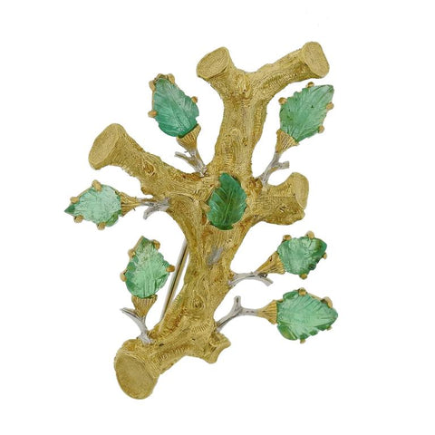 Buccellati Gold Carved Emerald Brooch Pin