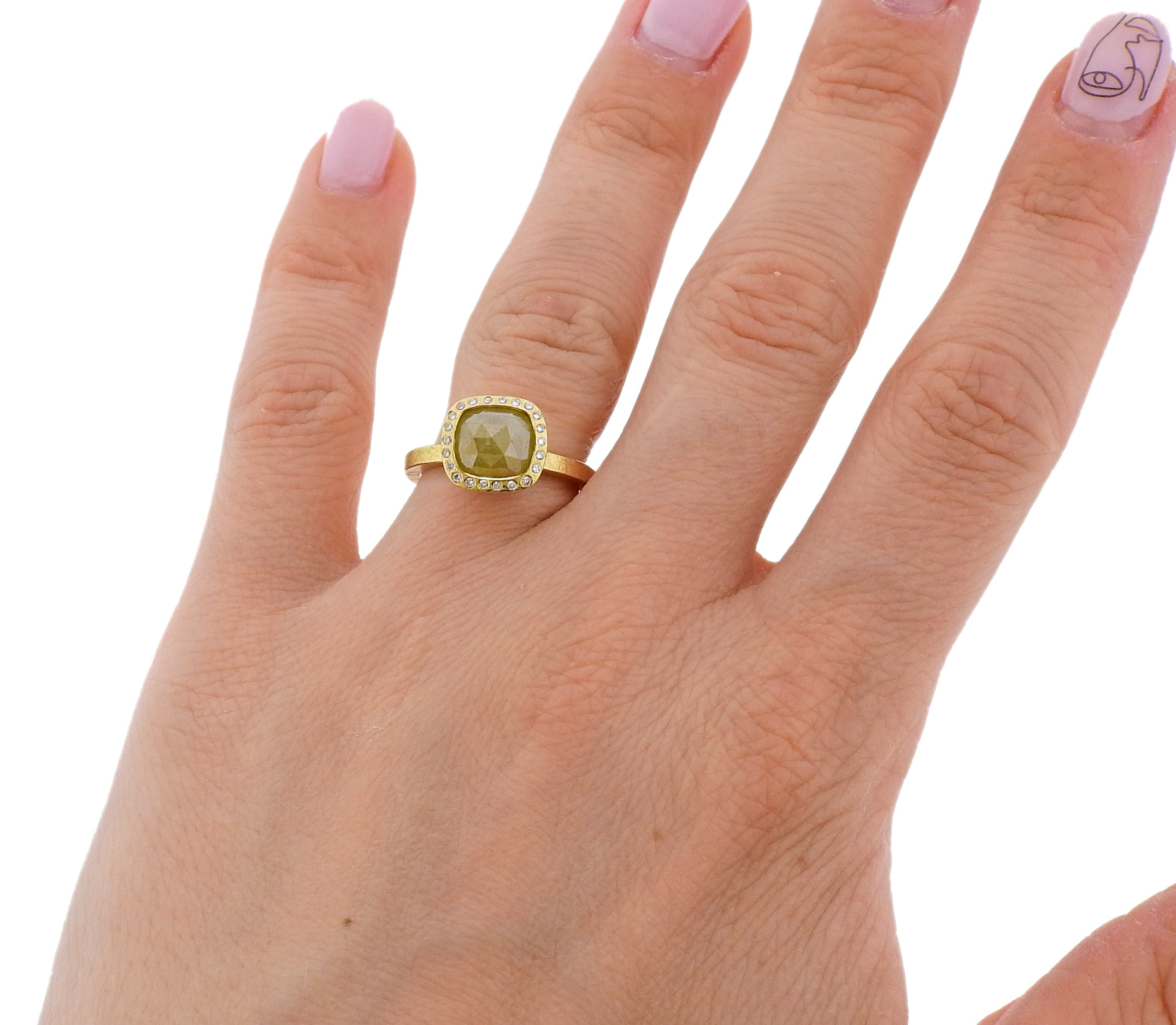 Todd Reed Gold 1.82ct Fancy Rose Cut Diamond Ring