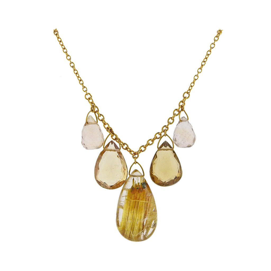 thumbnail image of Gurhan One of a Kind Delicate Dew Gold Rutilated Quartz Necklace