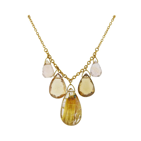 image of Gurhan One of a Kind Delicate Dew Gold Rutilated Quartz Necklace