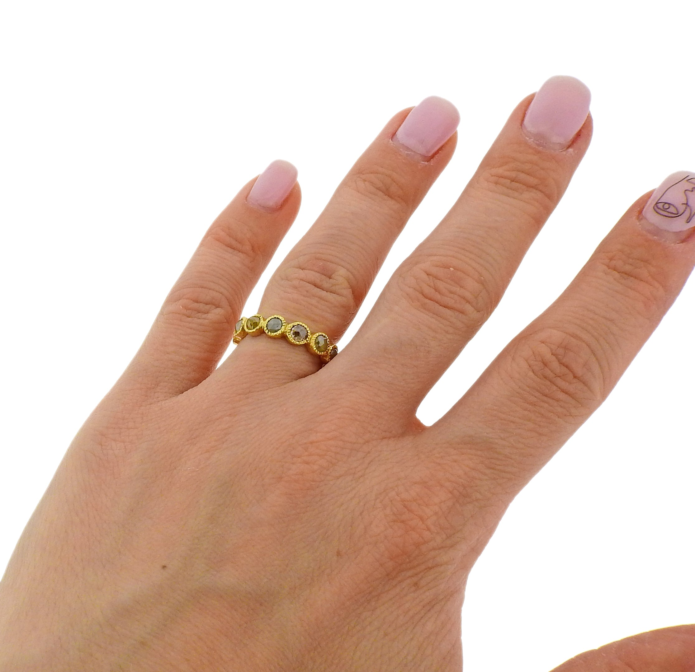 Todd Reed Gold Rose Cut Rough Diamond Eternity Band Ring
