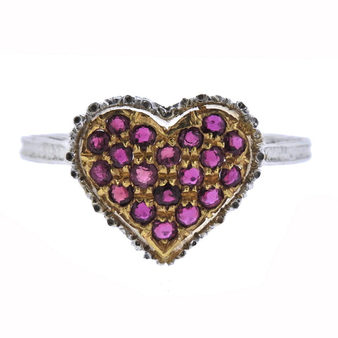 image of Buccellati Ruby Gold Heart Ring