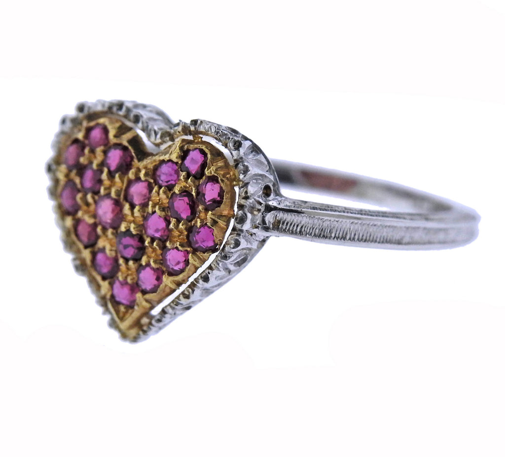 thumbnail image of Buccellati Ruby Gold Heart Ring