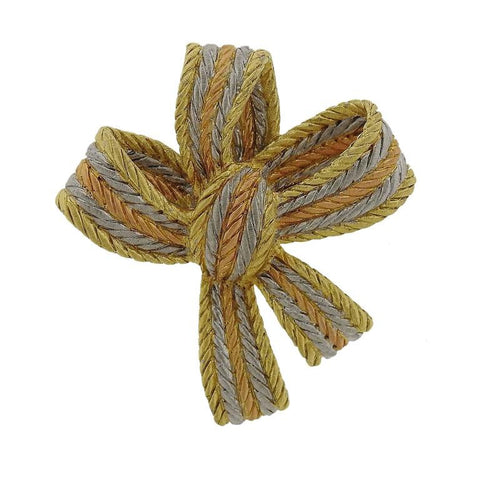Buccellati Tri Color Gold Bow Brooch Pin