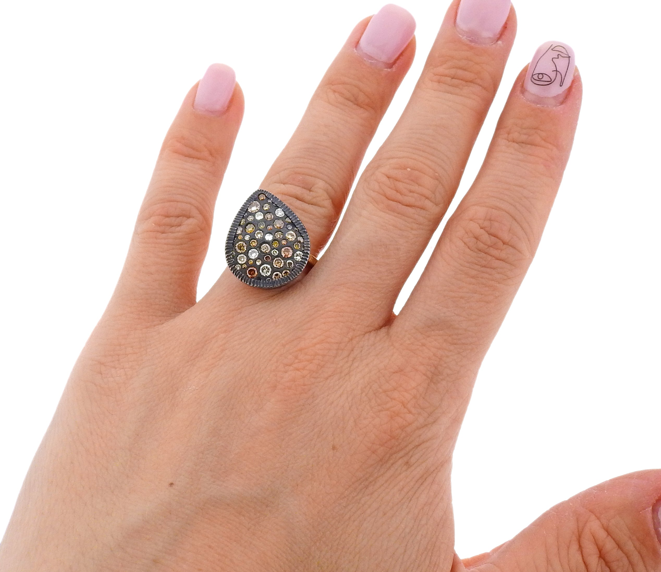 Todd Reed Gold Oxidized Silver Fancy Diamond Ring