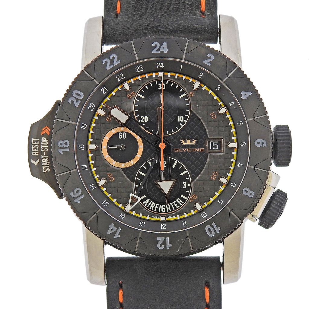 thumbnail image of Glycine Airman Airfighter Automatic GMT Chronograph Watch 3921.19.LB96OB