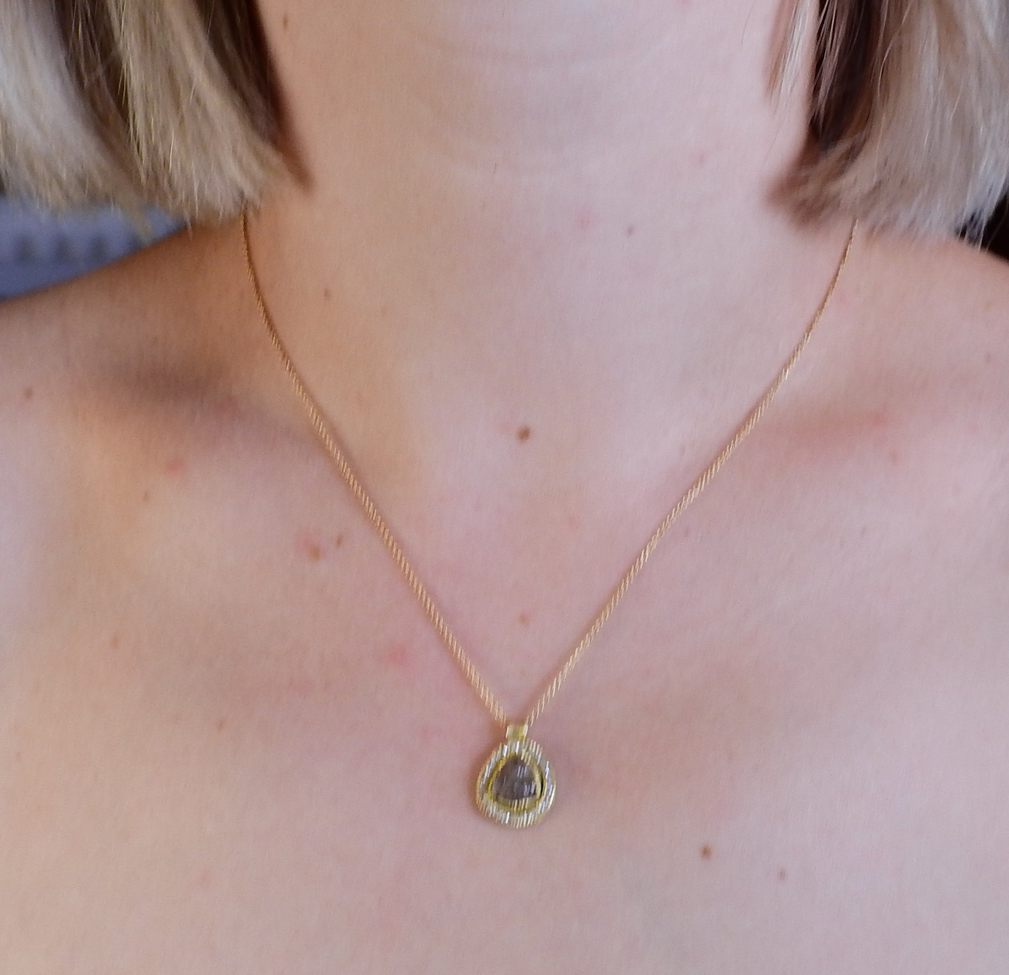 Todd Reed Gold 3.01ct Rough Diamond Pendant Necklace