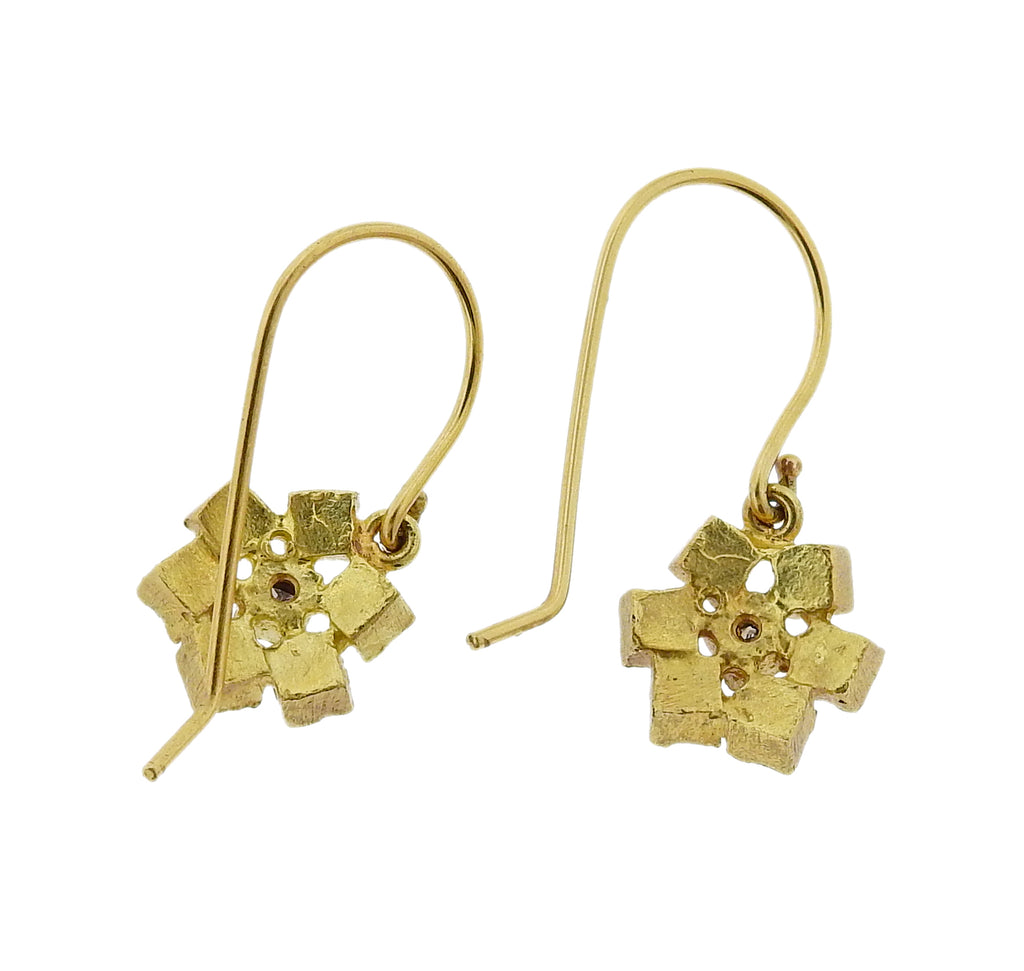 thumbnail image of Todd Reed Gold Rough Diamond Drop Earrings
