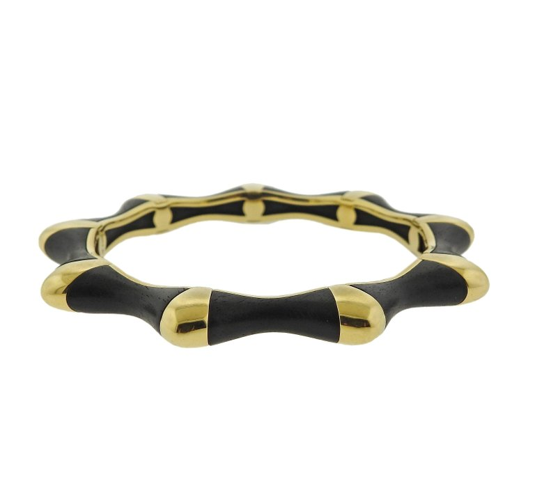 thumbnail image of David Webb Ebony Gold Bangle Bracelet