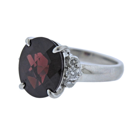 image of 6.81ct Garnet Diamond Platinum Ring