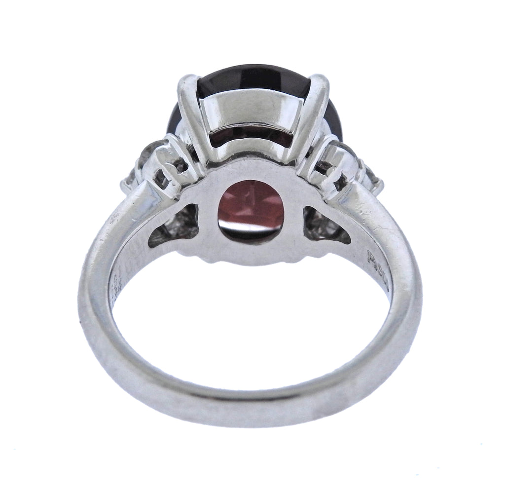thumbnail image of 6.81ct Garnet Diamond Platinum Ring