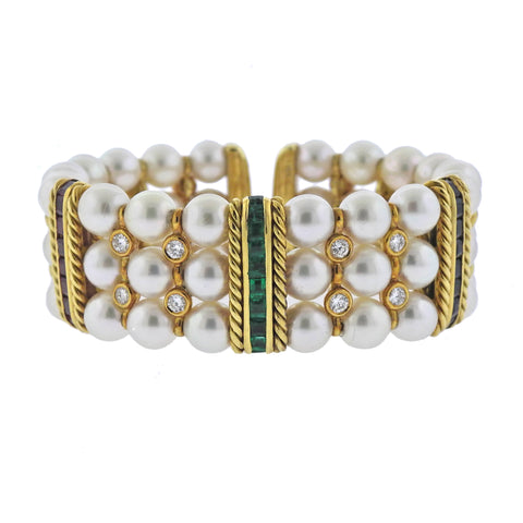 image of Sapphire Ruby Emerald Diamond Pearl Gold Bracelet
